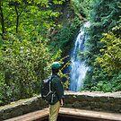 A female hiker looking at Multnomah Falls, Columbia River Gorge, Oregon by Adam Nixon