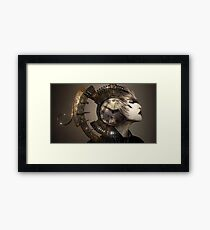 Steampunk gear head Framed Print