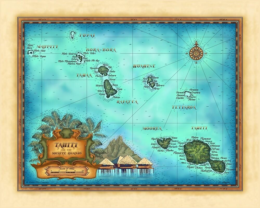 Map of Tahiti, Society Islands, Bora Bora, Morea