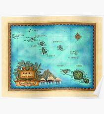 Karte von Tahiti, Gesellschaftsinseln, Bora Bora, Morea Poster