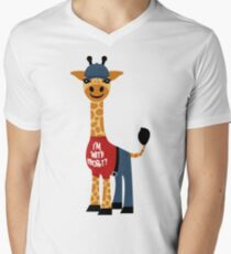 Cute Giraffe - I'm With Shorty Men's V-Neck T-Shirt