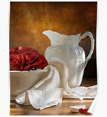 White Wheat And Roses Poster