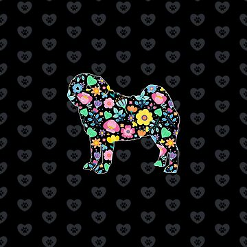 Floral pug with paw print love heart background by GBCdesign