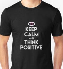 BEHALTEN SIE RUHE UND DENKEN SIE POSITIVE Unfruchtbarkeits-u. IVF-Bewusstseins-Stützhemden Slim Fit T-Shirt