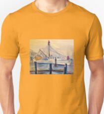 Misty Morning Pier Unisex T-Shirt