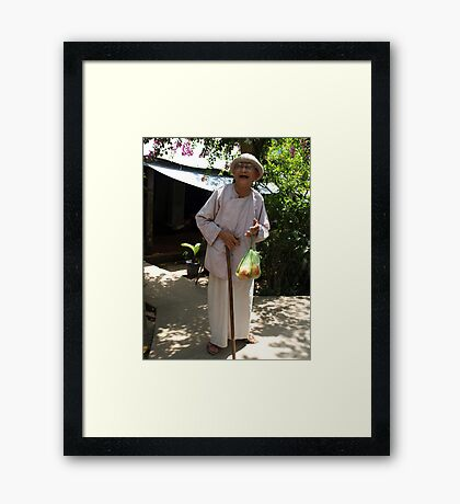 Elderly lady I met by the Mekong River, Vietnam Framed Print
