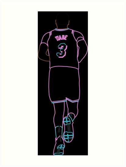 buy online 220de e7a2b 'Dwyane Wade Miami Vice Neon' Art Print by RatTrapTees