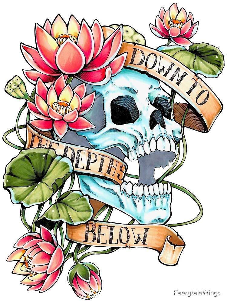 Skull and Lotus by FaerytaleWings