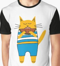 Funny cat eating watermelon Graphic T-Shirt