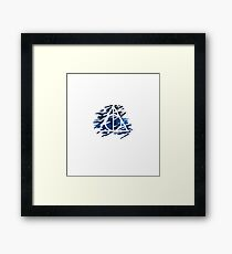 Galaxy Hallows - brush strokes background (blue galaxy) - wand, cloak, stone Framed Print