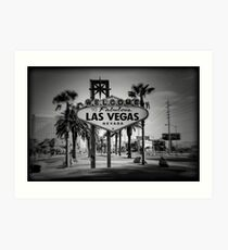 Welcome To Las Vegas Sign Series 3 of 6 Holga Black and White Art Print