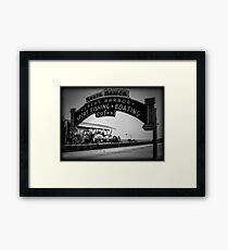 Santa Monica Pier Sign. Series. 2 of 5. Holga Black & White Framed Print