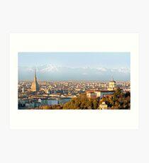 Turin (Torino), panorama at sunset Art Print