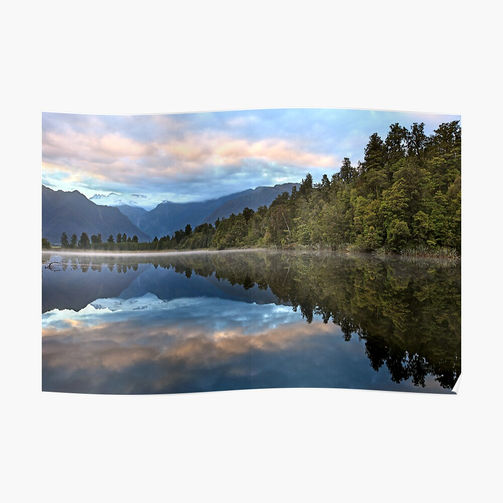 Lake Matheson Dawn, South Island, New Zealand Poster