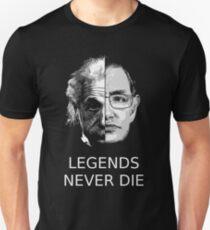 Camiseta unisex Albert Einstein - Stephen Hawking - Las leyendas nunca mueren