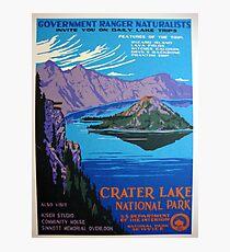 Vintage Crater Lake Oregon Travel Photographic Print