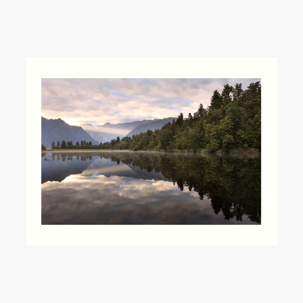 Lake Matheson Dawn, South Island, New Zealand Art Print