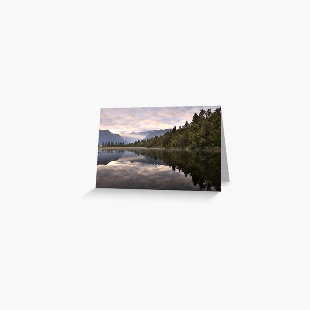 Lake Matheson Dawn, South Island, New Zealand Greeting Card