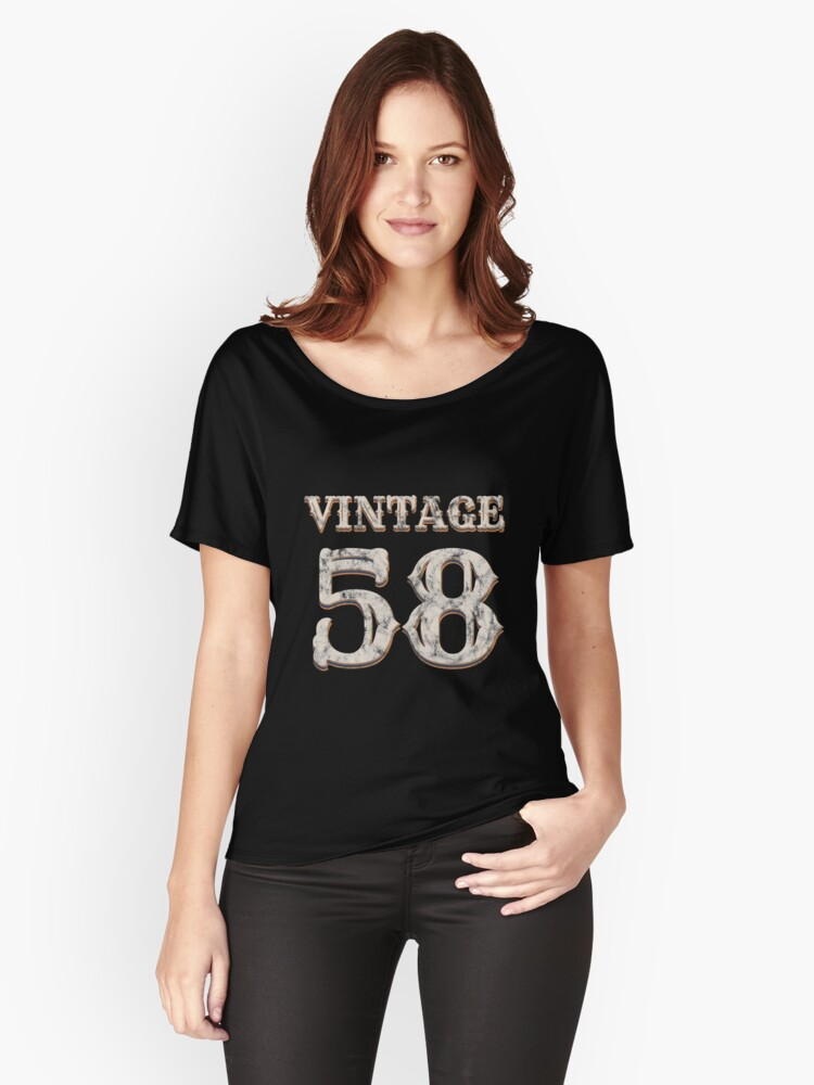 Vintage 58 Tshirt 60th Birthday Gift For 60 Year Old Womens Relaxed Fit T