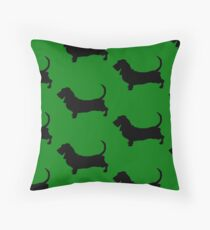 Basset Hound Silhouettes, Green! Throw Pillow