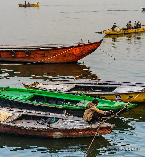 Boats on the Ganges by Werner Padarin
