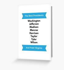 Virginia President Gift for History Buff George Washington Thomas Jefferson James Madison Monroe  Greeting Card