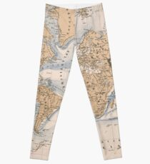 Vintage Map of The World (1884) Leggings