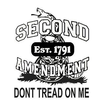 Second Amendment 2nd Gun Right Est 1791 Don't Tread On Me Gadsden Flag Shirt Sticker Cases Pillows Totes Duvet  by 8675309