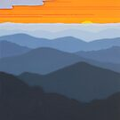 """Orange Sunset over the Ridges"" 123 by Cindy Lou Chenard"