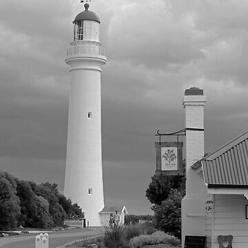 Split Point Lighthouse, Aireys Inlet, grayscale version by janjuc