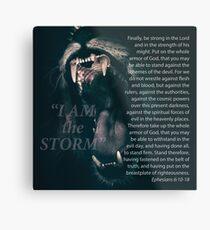 """I Am The Storm"" Lion - Ephesians 6:10-18 Metal Print"