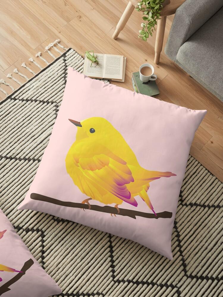 Yellow Cartoon Bird in Peach Background by MyArt23