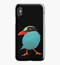 Blue Cartoon Bird in Black Background iPhone Case/Skin