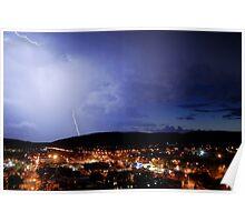 Lightening over Mt Gillan Poster