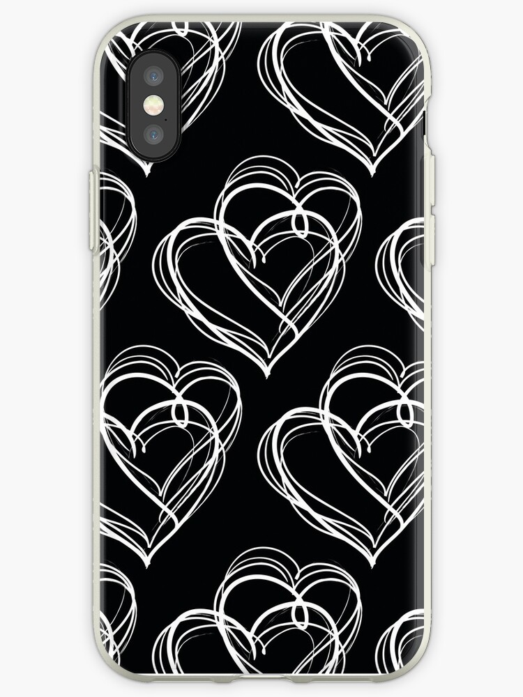 Black and White Vintage Heart Pattern by MyArt23