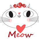 Vector seamless pattern enamored cats  by Tanor