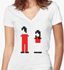 The White Stripes Pixel. Women's Fitted V-Neck T-Shirt