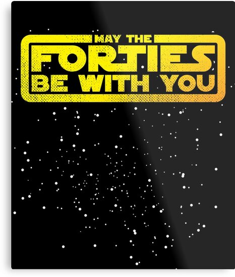 May The Forties Be With You Vintage 40th Birthday Distressed Star Illustration