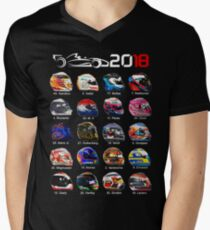 Formula 1 2018, new helmets of drivers Men's V-Neck T-Shirt