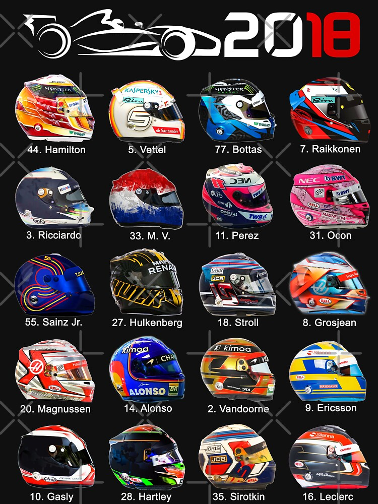 Formula 1 2018, new helmets of drivers by ideasfinder