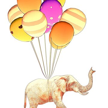 Elephant With Baloons by Miraart