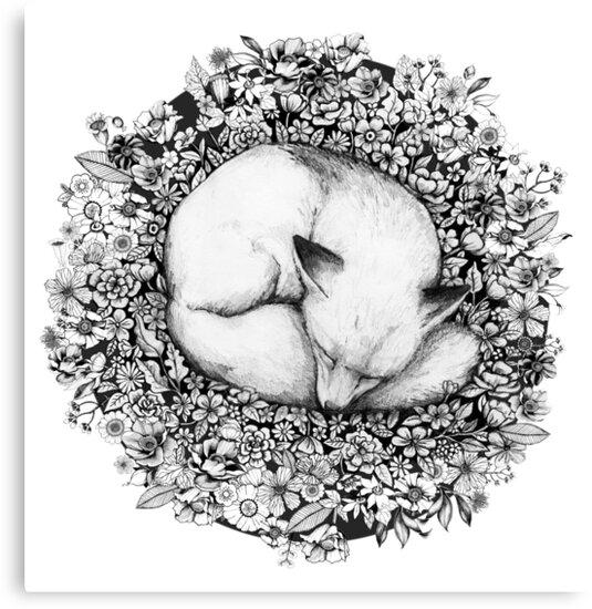 Fox Sleeping in Flowers by Linn Warme