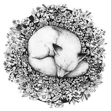 Fox Sleeping in Flowers by linnw