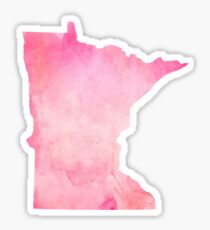 Pink Watercolor Minnesota Sticker
