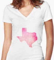Pink Watercolor Texas Women's Fitted V-Neck T-Shirt