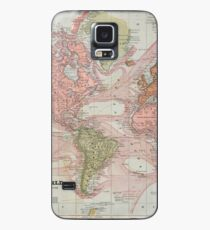 Vintage Map of The World (1883) Case/Skin for Samsung Galaxy