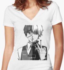 tokyo ghoul kaneki Women's Fitted V-Neck T-Shirt