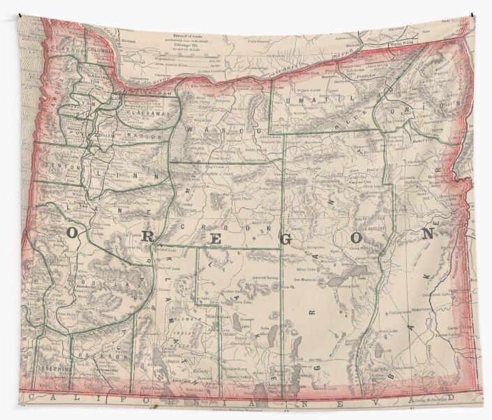 Vintage Oregon Map.Vintage Map Of Oregon 1883 Wall Tapestries By Bravuramedia