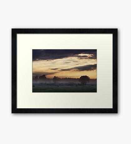 Sunrise of Spring in Village Framed Print