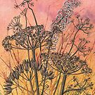 Sunset Seed Heads 2 of 3 series (watercolour and mixed media on paper) by Lynne Henderson
